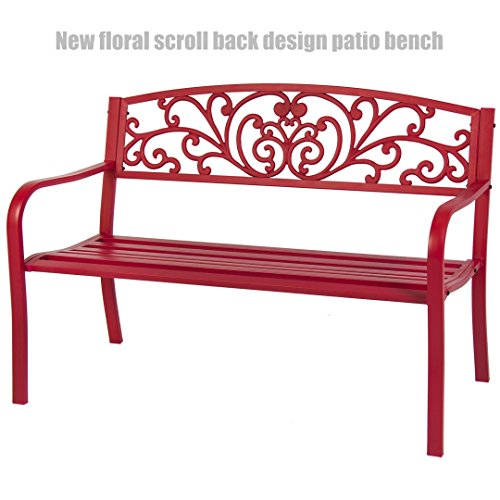 Garden Patio Steel Bench Outdoor Yard Furniture Deck Park Porch Antique Cranberry Red Flower Scroll Back Design Chairs #1246 (Port Garden Elizabeth Furniture Wooden)