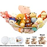Stuffed Animal Toy Hammock | Premium Plush Toy Hanging Organizer | Jumbo Extra Large Storage Mesh Pet Net | Organize Clutter in Kids Room | Provide Installation Tools | Expands to 6.5 Feet | White