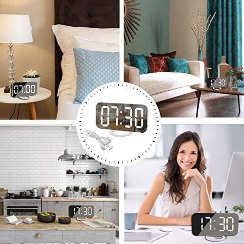 Digital Clock Large Display, LED Electric Alarm Clocks Mirror Surface for Makeup with Diming Mode, 3 Levels Brightness, Dual USB Ports Modern Decoration for Home Bedroom Decor-White