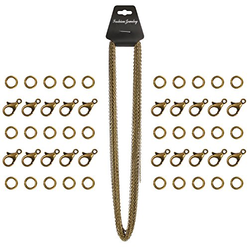 BBTO 33 Feet Stainless Steel Bronze DIY Link Chain Necklaces with 20 Pieces Lobster Clasps and 30 Pieces Jump Rings for Jewelry Making, 2 (Bronze Necklace Chain)