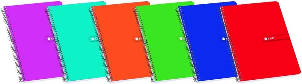 Enri 100302775 - Pack de 10 cuadernos espiral, tapa blanda, 86 x 126 mm, 80 hojas, 60G, 4 x 4 TB, colores aleatorios