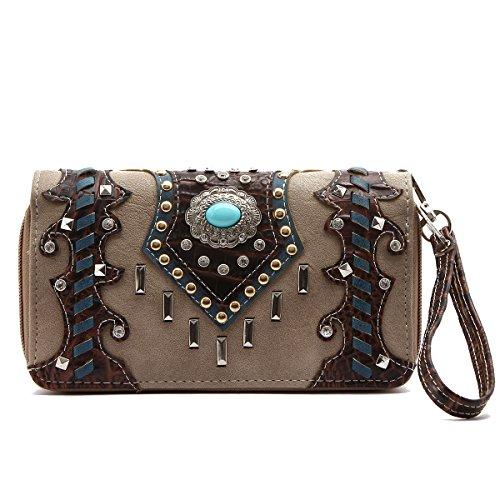 Western Wallet - Turquoise Round Stone Concho with Studded Bars Wallet by Cowgirl Trendy