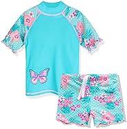 ZNYUNE Toddler Girls Rash Guard Short Sleeve Two Piece Swimsuits for Girls Swimwear Kids Surfing Suit UPF 50+