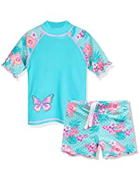 ZNYUNE Toddler Girls Rash Guard Short Sleeve Two Piece Swimsuits for Girls Swimwear Kids Surfing Suit UPF 50+ 3-10 Years Cyan 6A