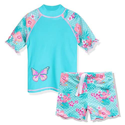 (ZNYUNE Toddler Girls Rash Guard Short Sleeve Two Piece Swimsuits for Girls Swimwear Kids Surfing Suit UPF 50+ 3-10 Years Cyan 4A)