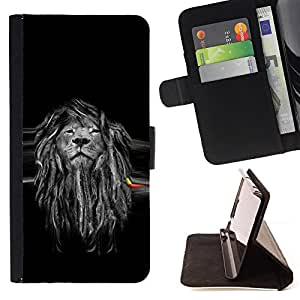Jordan Colourful Shop - Beautiful Majestic Lion Rasta For Samsung Galaxy S5 V SM-G900 - < Leather Case Absorci????n cubierta de la caja de alto impacto > -