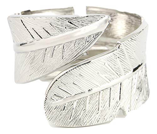 United Elegance - Stylish Silver Tone Cuff Bangle Bracelet with Textured Leaf Design
