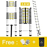 Finether 3.8M Portable Aluminium Telescoping Ladder with Finger Protection Spacers for Home Loft Office, EN131 Certified, 330 Lb Capacity