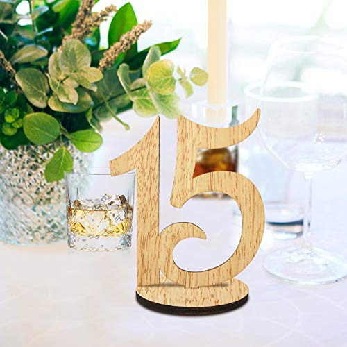 ElekFX Table Numbers 1-15 Wedding Wooden Table Number Cards with Round Base Double Sided Design Table Holders for Wedding/Party Reception and -