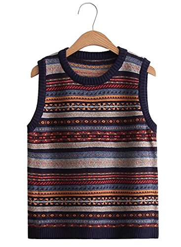 Cropped Sweater Vest (Futurino Women's Vintage Stripy Partten Knitted Pullover Sweater Vest Top)