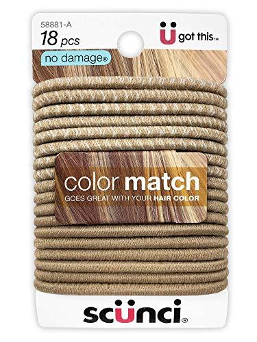 Scunci, No Damage Elastic Hair Ties, Blonde Color Match (18-pieces)