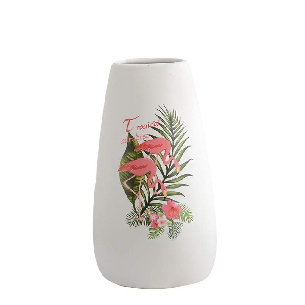 花瓶フラミンゴモダンホワイトミニマリスト家の装飾セラミック花瓶装飾水花フラワーリビングルームクリエイティブフラワーアレンジメント LQX (Size : L) B07SNNYHWX  Large