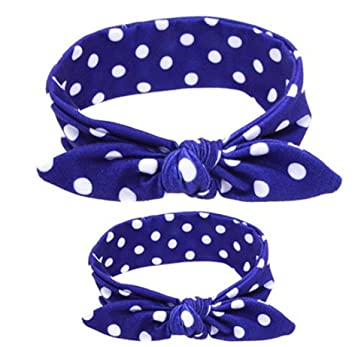 Shimmer Anna Shine Mommy and Me Matching Cotton and Spandex Stretch Headbands Blue Polka Dot