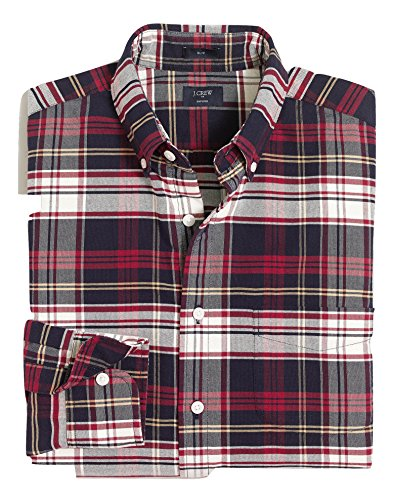 J.Crew Mens Slim Fit Plaid Oxford Button Down Shirt