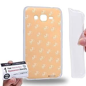 Case88 [Samsung Galaxy Grand Prime] Gel TPU Carcasa/Funda & Tarjeta de garantía - Art Retro Navajo white Bicycle Art2152