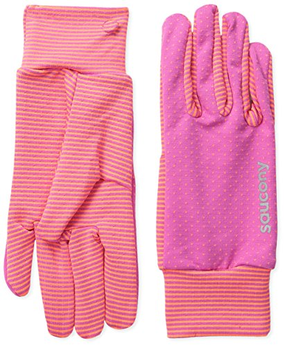 Saucony Women's Swift Gloves, Black Raspberry/ViZiPRO Orange, (Lightweight Running Gloves)