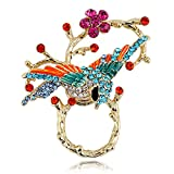 TUSHUO Vivid Birds Inlaid with Colorful Rhinestone Perched On The Branches Design Magnetic Eyeglass Holder (Gold)