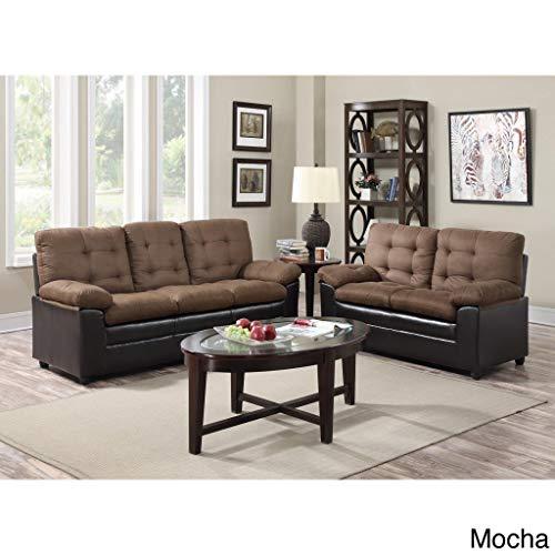 GTU Furniture Two-Tone Microfiber Sofa and Loveseat Set Mocha (Microfiber Sofa Tone Two)