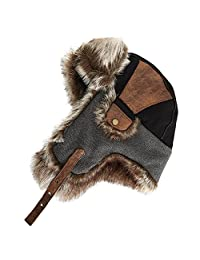 SIGGI Faux Fur Bomber Trapper Hat for Men Cotton Warm Ushanka Russian Hunting Hat