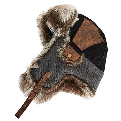 SIGGI Faux Fur Bomber Trapper Hat for Men Cotton Warm Russian Hunting Hat Black (Faux Fur Trapper)