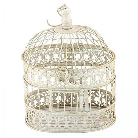 Vintage decoración Jaula ovalado pájaro jaula de color blanco 33 ...