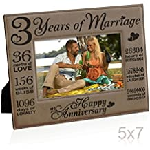 Kate Posh - Our 3rd Wedding Anniversary, 3rd Anniversary Gifts, 3 Years Anniversary, 3 Years of Marriage, Gifts for Couple, Third Anniversary - Engraved Leather Picture Frame (5x7 Horizontal)