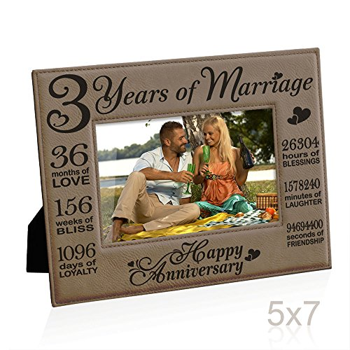 (Kate Posh Our 3rd Wedding Anniversary, 3rd Anniversary Gifts, 3 Years Anniversary, 3 Years of Marriage, Gifts for Couple, Third Anniversary - Engraved Leather Picture Frame (5x7)