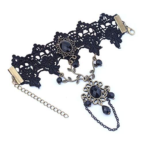- Black Rhinestone Lace Bracelet Retro Gothic Style Vampire Slave Bangle Fancy Hand Chain Costume by SamGreatWorld