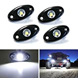 iJDMTOY (4) Universal Fit 3-CREE 9W High Power LED Rock Light Kit For Jeep Truck SUV Off-Road Boat, Xenon White
