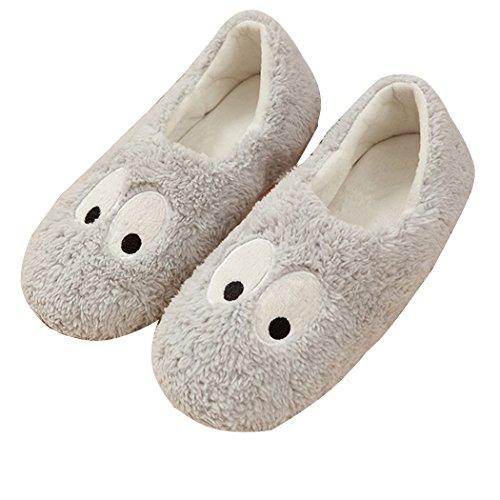 Warm Cartoon Slippers for Women Indoor Fleece Plush Non Slip Dedroom Winter Booties Grey Eyes 5.5-6.5 M US]()