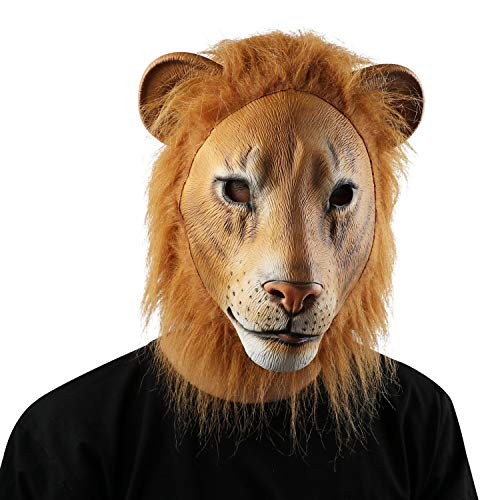 Tuweep Lion Natural Latex Animal Head Mask Halloween Party Costume Decoration Non-Toxic