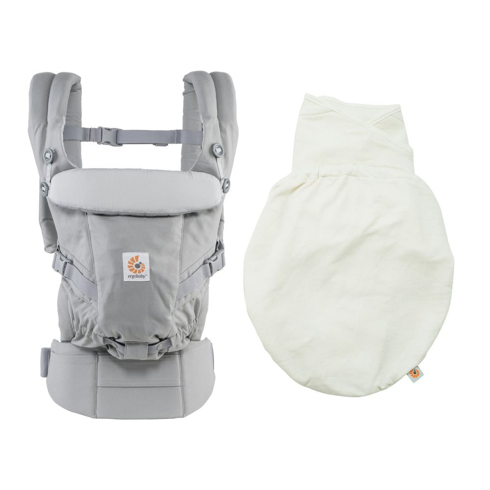 Ergobaby Adapt 3 Position Baby Carrier (Grey Plus Swaddler -Natural, Size S/M)