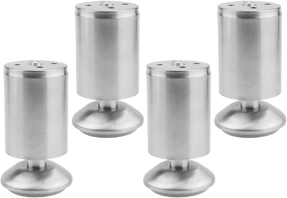"""TOVOT 4 PCS Furniture Cabinet Metal Legs Adjustable Stainless Steel TV Desk Table Kitchen Feet Round Black and Silver-3.93""""(100 mm) Height Sofa Adjustable Feet"""