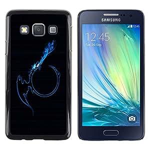 TopCaseStore / la caja del caucho duro de la cubierta de protección de la piel - Blue Tribal Dragon Flame - Samsung Galaxy A3 SM-A300
