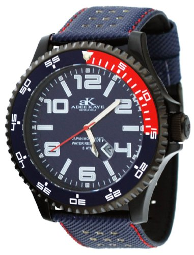 Adee Kaye #AK2229-MIPB Men's Black Plated Oversized Acrylic Sports Watch
