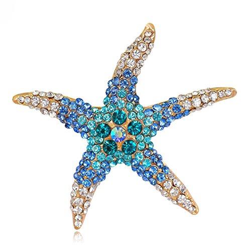 Starfish Clasp (Sanwood Brooch Pin Fashion Full Rhinestone Beach Starfish Broach Pin Wedding Party Bridal Jewelry (Blue))