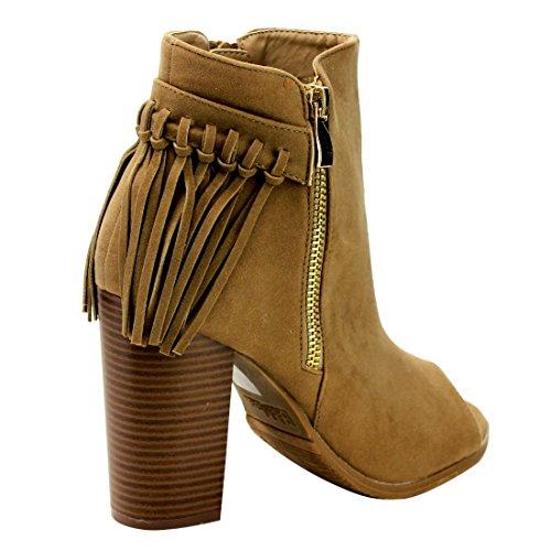 Side Chunky Zipper MARIE Booties BELLA Heel Peep Toe Fringe Womens AE66 Taupe Ankle gw4pwRHqIa
