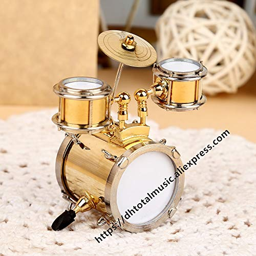 ZAMTAC Dh Miniature Drum Model Replica with Stand and Case Dollhouse Accessories Mini Musical Instrument Ornaments Decoration Gifts - (Size: 8cm)