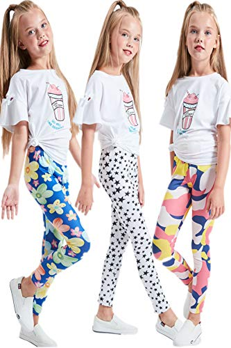 - LUOUSE Girls Stretch Leggings Tights Kids Pants Plain Full Length Children Trousers, Age 4-13 Years