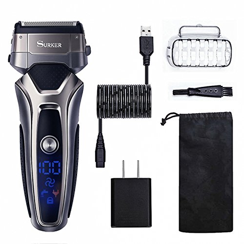 SURKER Men's Electric Foil Shaver, Cordless Electric Shaver Razor Wet & Dry Rechargeable Beard Trimmer with LCD Display Electric Shaver for Men – Waterproof Best Gift for Husband, Dad and Boyfriend