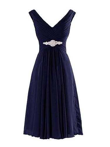 WeiYin Women's Short Chiffon V-Neck Cocktail Dresses Bridesmaid Dresses