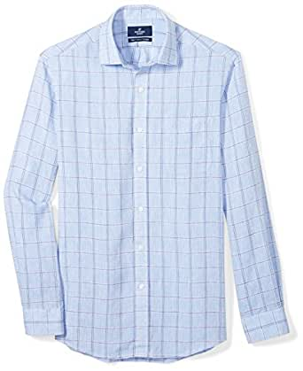 "Buttoned Down Men's Classic Fit Spread-Collar Casual Linen Cotton Shirt, Light Blue Large Plaid, 20-20.5"" Neck 34-35"" Sleeve (Big and Tall)"