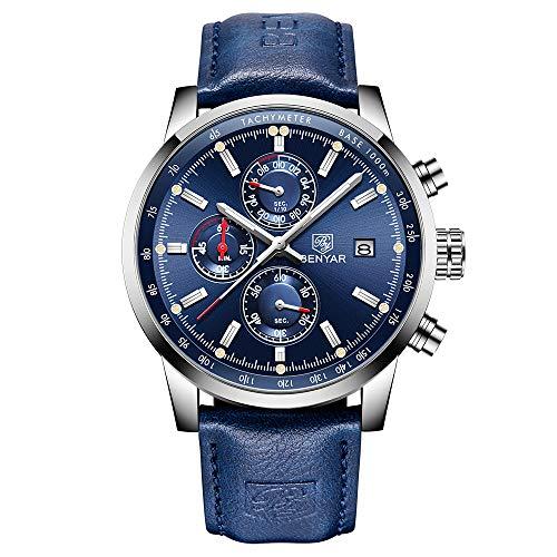 Original Quartz Mens Watch Unique Sport Watches for Men Causal Wrist Watch Men Leather Waterproof Watch, Luminous Hands, Chronograph, Calendar, Outdoor, Gifts (Blue Silver)