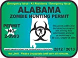 Alabama zombie hunting permit decal bumper sticker