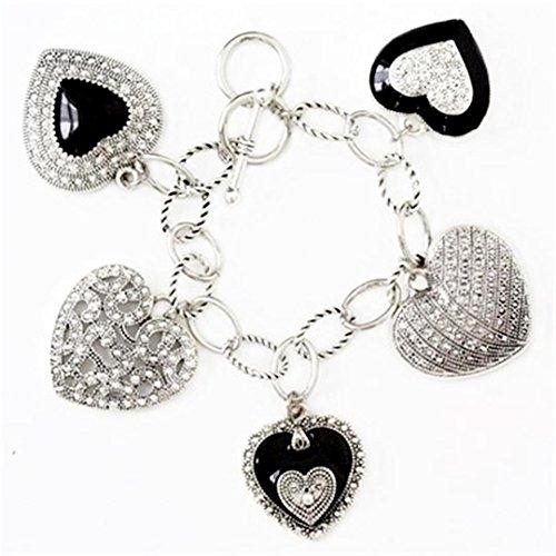 Heart Charm Bracelet D11 Marcasite (Marcasite Look Heart)