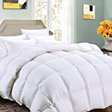 Alternative Comforter - Queen Comforter Soft Summer Cooling Goose Down Alternative Duvet Insert 2100 Hypoallergenic Quilt with Corner Tab for all Season, Prima Microfiber Filled Reversible Hotel Collection,White,88 X 88 inch