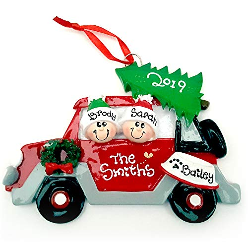 Red Car Couple with a Dog Personalized Christmas Ornament (Personalized Christmas Ornaments Couple With 2 Dogs)