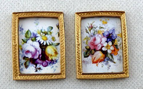 Melody Jane Dolls Houses House Miniature Accessory 2 Flower Pictures Paintings In Gold Frames by Melody