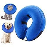 SELMAI Inflatable Dogs Collar for After Surgery Adjustable Soft Pet Collar Cone for Recovery Protective E-Collars Recovery Collars for Small Medium Large Dogs Cats Does Not Block Vision Blue Size L