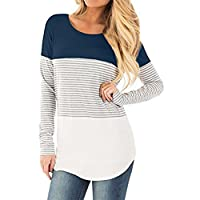CUCUHAM Women Casual Long Sleeve Striped Patchwork Stretchy Tops Blouse T-Shirt